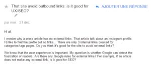 Question dans le forum de Google
