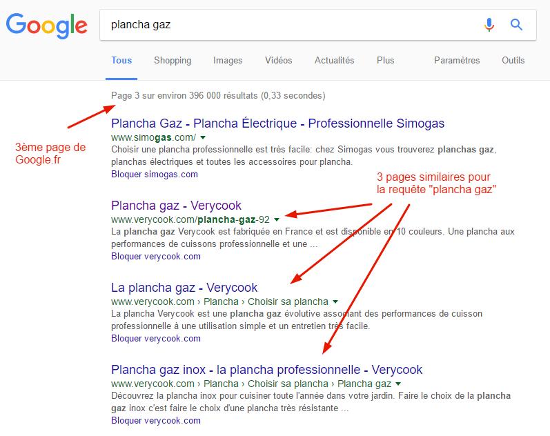 """3 pages du site de Verycook en compétition pour la requête """"plancha gaz"""""""