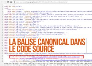 La balise canonical dans le code source