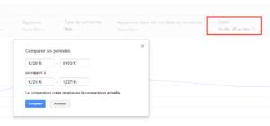 Comparaison des périodes dans la Search Console de Google