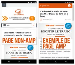 Différence entre une page AMP et une page non-AMP
