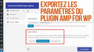 Exporter les paramètres du plugin AMP for WP