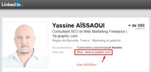 Lien en dofollow dans mon profil LinkedIn