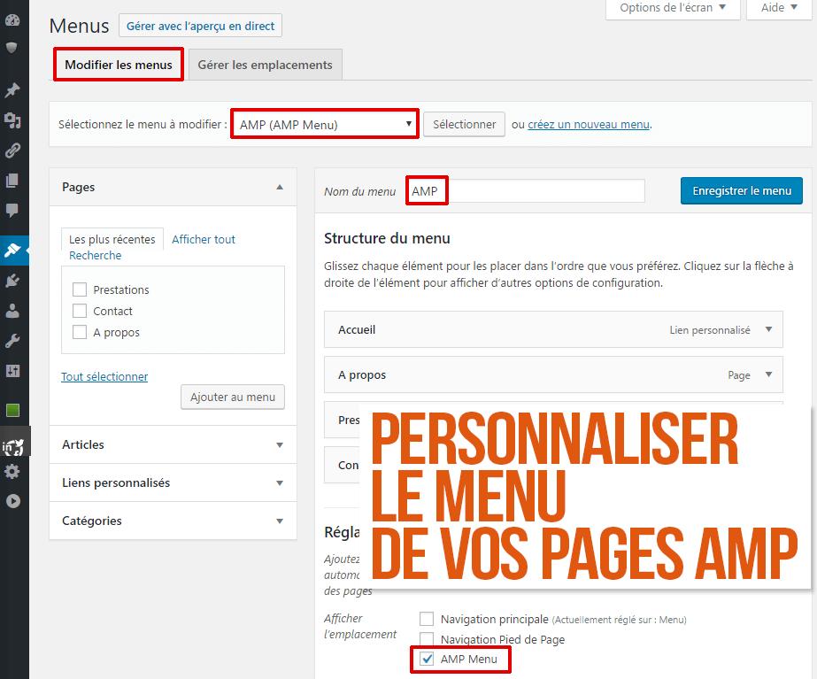 Personnaliser le menu de vos pages AMP