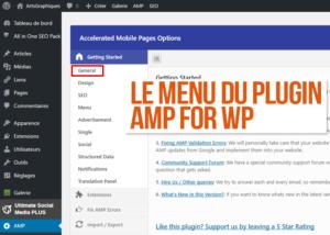 Menu du plugin AMP for WP