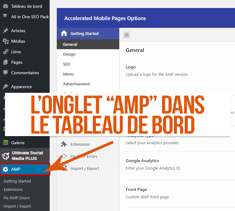 Onglet AMP dans le tableau de bord WordPress