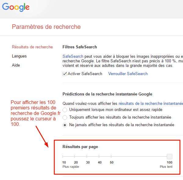 Afficher les 100 premiers résultats de recherche de Google en une page