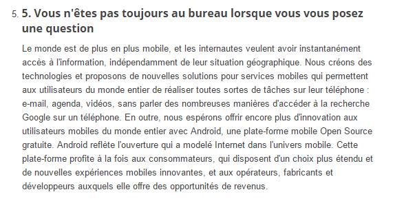 Philosophie de Google : la mobilité