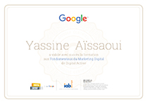 Yassine AISSAOUI (Ya-graphic) est certifié Digital Active par Google