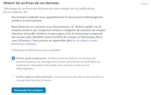 Télécharger les archives dans LinkedIn