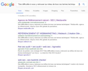 Contenu dupliqué visible dans Google.fr