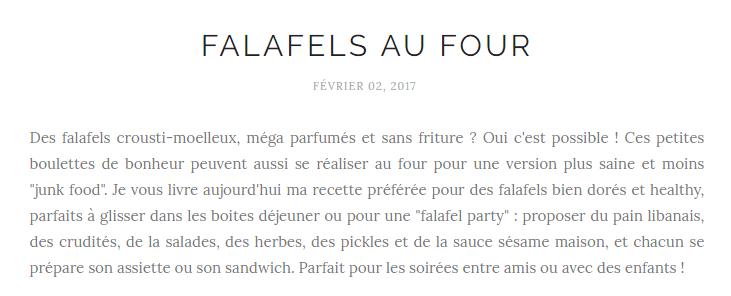"""Un titre de blog comme celui-ci """"Falafels au four"""", je dis non."""