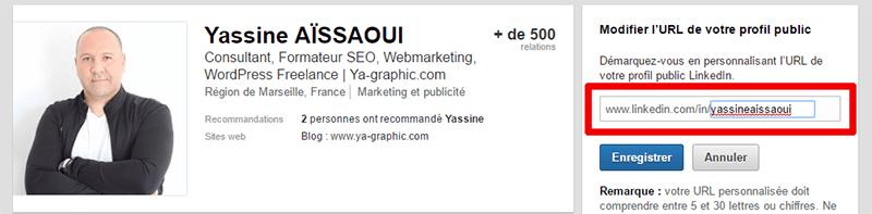 Personnaliser l'URL de son profil dans LinkedIn