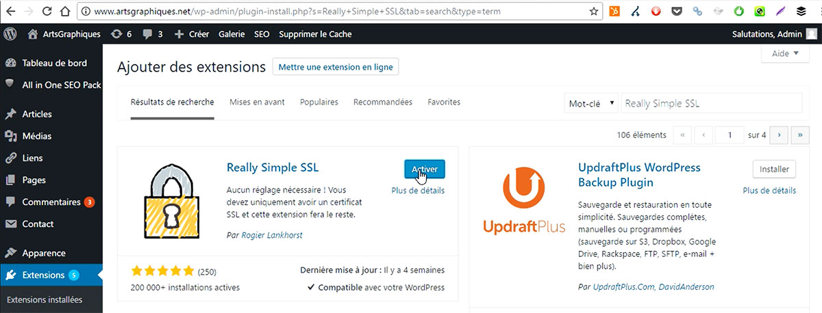 Activer l'extension Really Simple SSL