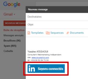 Exemple de bouton LinkedIn dans Gmail