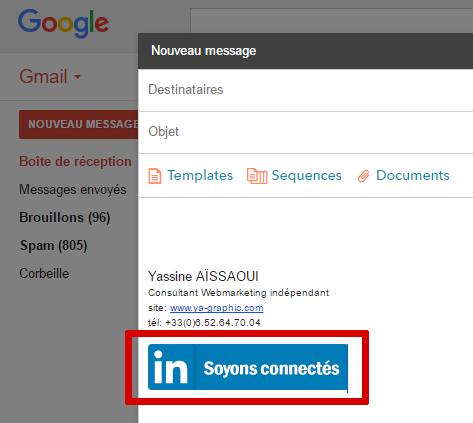 Exemple de bouton LinkedIn cliquable dans Gmail.