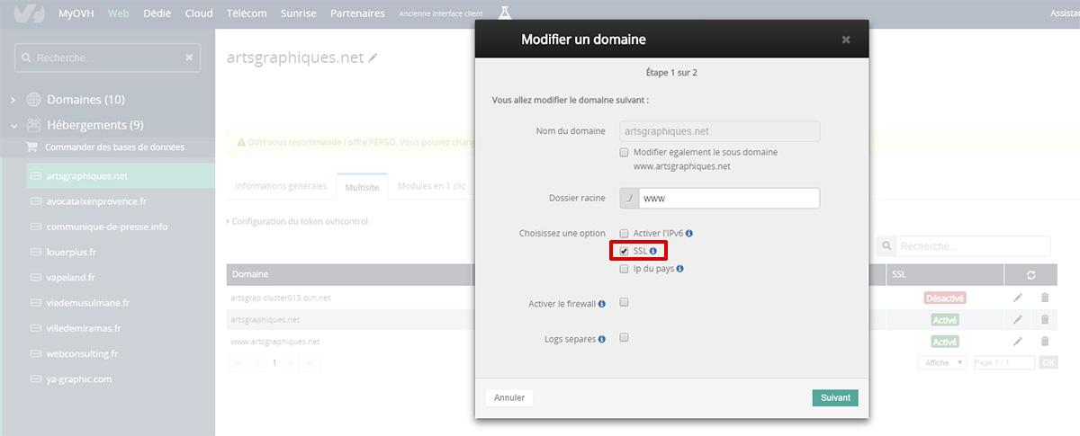 Générer certificat SSL sur OVH