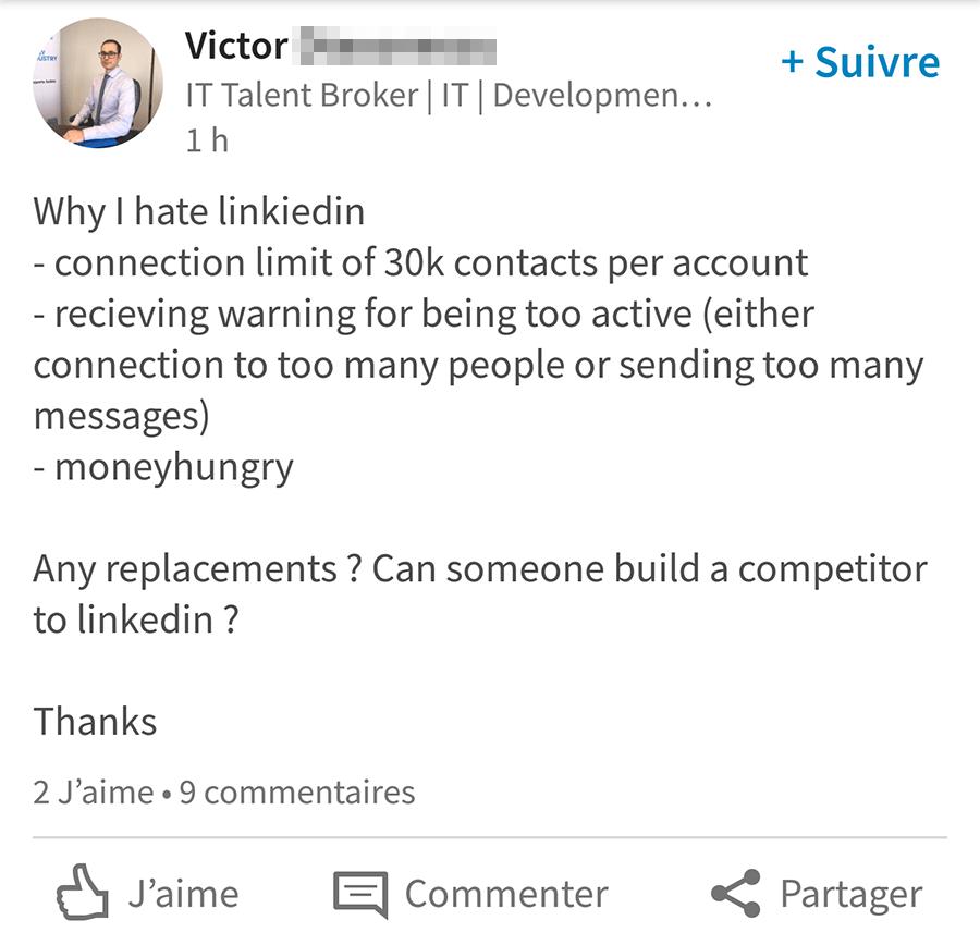 """""""Why I hate LinkedIn"""" : Limite de taille du réseau à 30 000 relations de 1er niveau"""