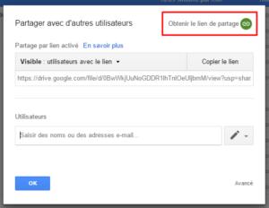 Obtenir le lien de partage (Google Drive)