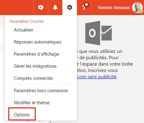 Paramètres Outlook.com