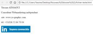 Signature dans le fichier HTML