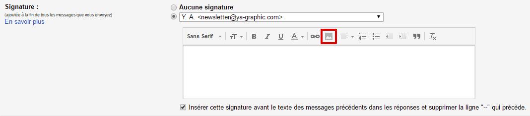 Signature Gmail : Insérer une image