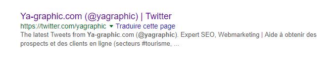 Ya-graphic dans les résultats naturels de Google