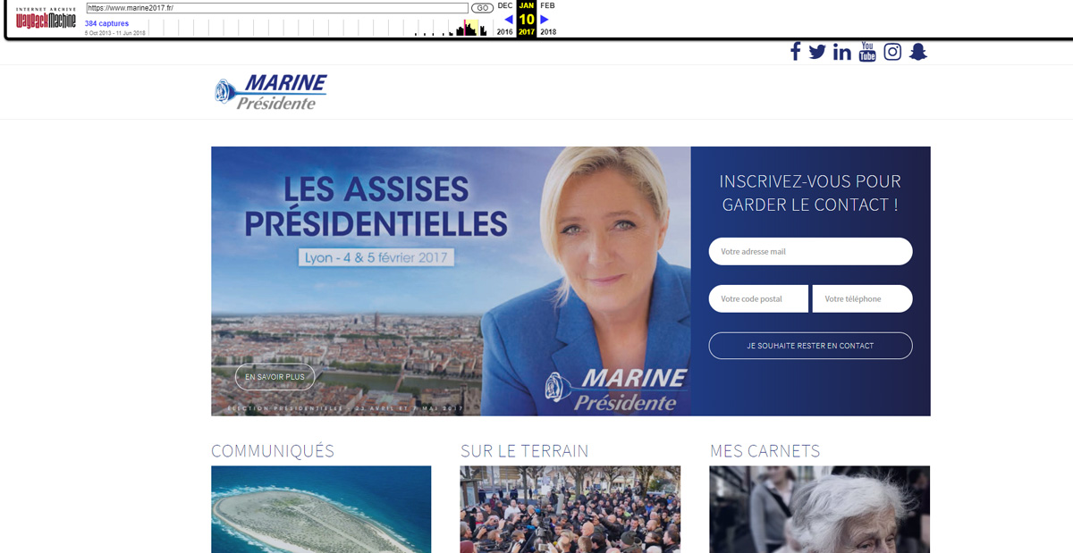 Site de Marine le Pen en 2017