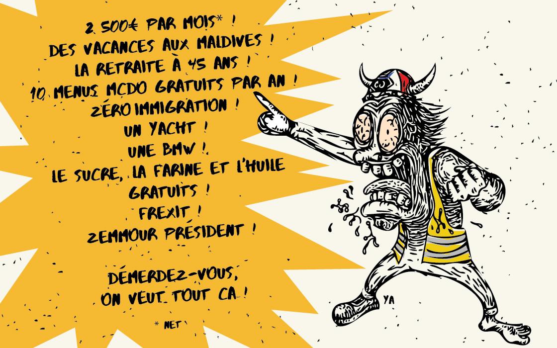 Caricature de gilet jaune