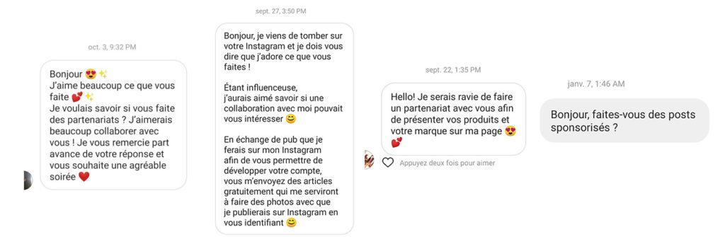 Demandes de posts sponsorisés dans Instagram