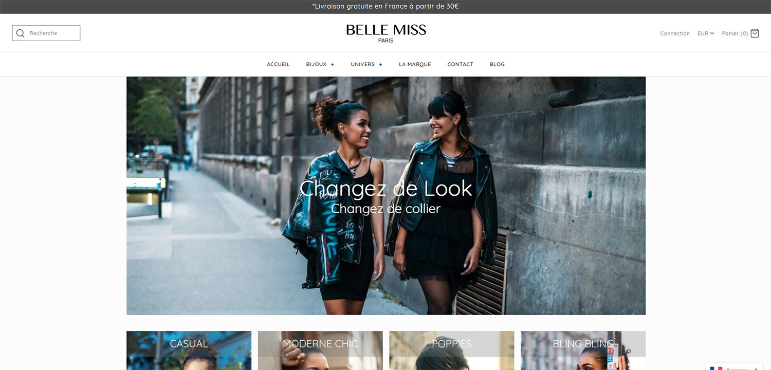 Exemple boutique Shopify : Belle Miss Paris