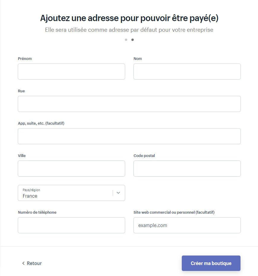 Guide Shopify : remplir le formulaire pour pouvoir être payé