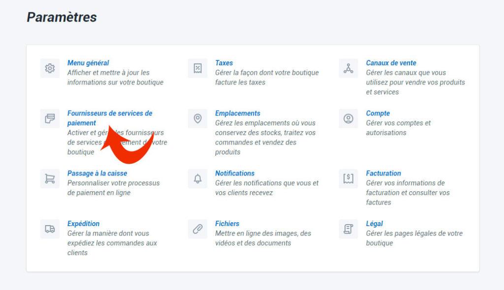 Choisir les méthodes de paiement en ligne sur Shopify