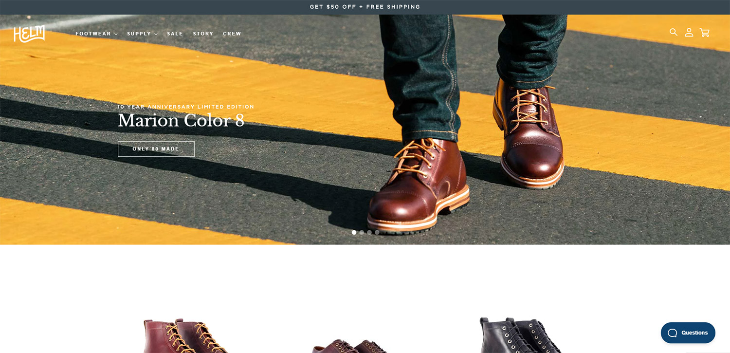 Exemple boutique Shopify : Helm Boots