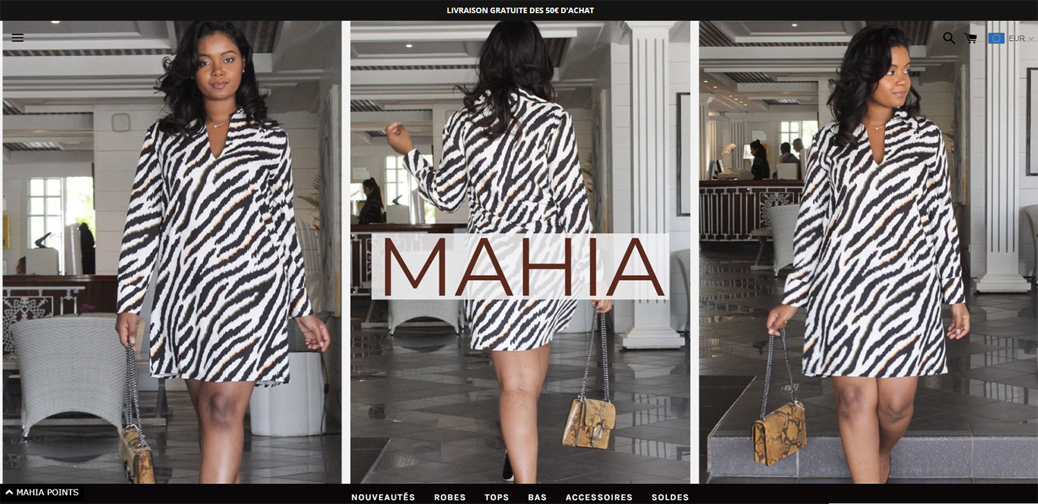 Exemple de boutique Shopify : Mahia Boutique