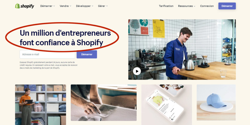 Shopify 1 millions d'entrepreneurs e-commerçants.