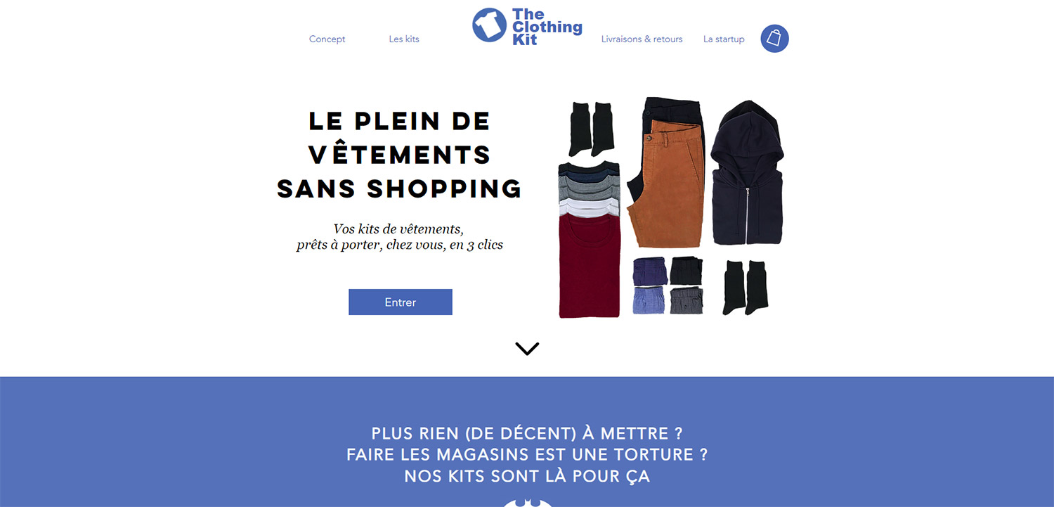 Boutique Shopify exemple : The Clothing Kit